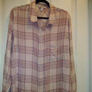 Old Navy Classic Pink lightwt Flannel Plaid XXL